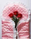Roses rouges sur le satin rose Photo stock