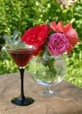 Roses on a sacking. Wine glass with roses on a sacking Stock Photo