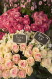 Roses for sale in Paris flower shop Royalty Free Stock Photos