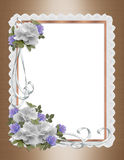 Roses, satin and lace border wedding invitation Royalty Free Stock Images