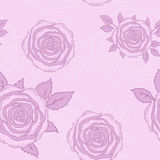 Roses seamless. Vector seamless hand drawn roses and leaves background Royalty Free Stock Photos