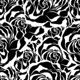 Roses. Seamless black and white vector pattern. Royalty Free Stock Photo