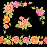 Roses seamless horizontal pattern, clip art. Roses horizontal seamless pattern, corners and clip art Royalty Free Stock Image