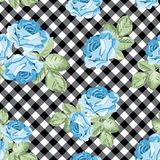 Roses seamless pattern on black and white gingham, chequered background. Vector illustration. Floral seamless pattern. Blue roses on black and white gingham vector illustration