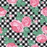 Roses seamless pattern on black and white gingham, chequered background. Vector illustration. Floral seamless pattern. Pink roses on black and white gingham vector illustration