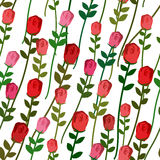 Roses seamless pattern. Rose with a long stem and leaves. Vector Stock Image