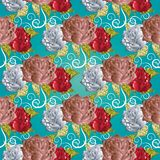 Roses seamless pattern. Turquoise floral vector background. Eleg Stock Photos