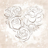 Roses in shape of a heart. Vintage style Royalty Free Stock Photography