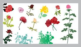 Roses silhouettes set Royalty Free Stock Image