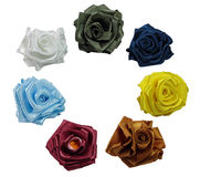 Roses from silk. Seven roses from color silk are on a Royalty Free Stock Images