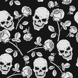 Roses and Skulls Seamless Pattern Stock Photography