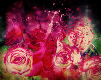 Roses and splashing paint. Abstract grunge background with roses and splashing paint stock illustration