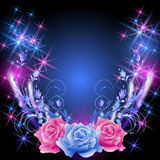 Roses and stars. Glowing background with roses and stars Royalty Free Stock Photo