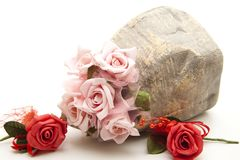 Roses in the stone vase Royalty Free Stock Image