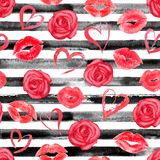 Roses striped seamless pattern stock illustration