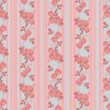 Roses and stripes. Vintage style vector seamless pattern with pretty roses and stripes Stock Photo