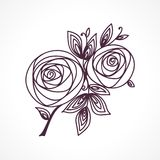Roses. Stylized flower bouquet hand drawing. Outline icon symbol. Present for wedding, birthday invitation card. Roses. Stylized flower bouquet hand drawing vector illustration