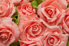Roses from Sugar Paste icing. Sweet pastry Royalty Free Stock Photos