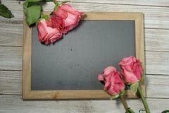 Roses roses sur une ardoise grise Photo libre de droits
