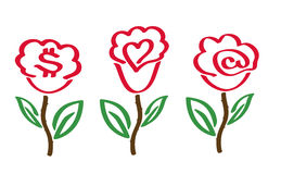 Roses with symbols. Three stylized roses with some usual symbols Stock Photo