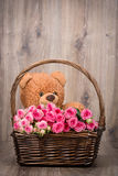 Roses and a teddy bear Stock Image