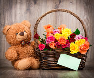 Roses and a teddy bear Royalty Free Stock Photo