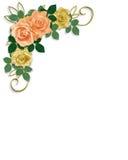 Roses Template Wedding Invitation Peach royalty free stock photos