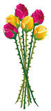 Roses Thorns Bouquet. Roses with many thorns on their stalks.  vector illustration on white background Royalty Free Stock Photo