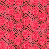 Roses on tiger wild skin leather seamless pattern background Stock Photography
