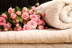 Roses  and towels Stock Photography