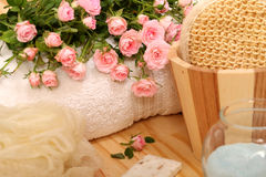 Roses, towels and spa accessories Stock Image