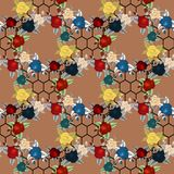 Roses, tulips and forget-me-nots vintage seamless pattern, classic chintz floral repeat background for web and print. Eps 10 royalty free illustration