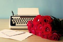 Roses and typewriter Royalty Free Stock Image