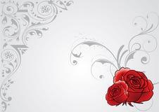 Roses valentine card. Rose illustration on detailed decorative grunge gray background Royalty Free Stock Photography