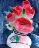 Roses in vase. Watercolors painting Royalty Free Stock Photos