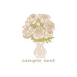 Roses in vase. Hand drawn  roses in vase with space for text on white rectangular background Stock Photos
