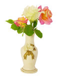 Roses in a vase. Three roses in a small vase Stock Photography