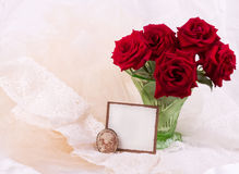 Roses in vase with banner add. Beautiful red roses in vase with banner add Stock Photography