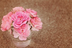 Roses In Vase on Brown. Sweet pink roses in a clear glass vase with brown sandy background with shallow depth of field and a beautiful retro filter effect, for Royalty Free Stock Photography