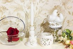 Roses in a vase. Home decorations royalty free stock image