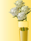 Roses in a vase with message tab Royalty Free Stock Photo