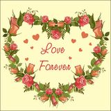 Roses vector frame heart - Love Forever royalty free illustration