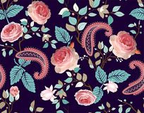 Roses vector pattern. Colorful seamless floral wallpaper, backdrop royalty free illustration