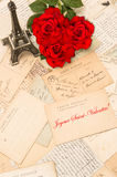 Roses, vintage postcards, Eiffel Tower from Paris Royalty Free Stock Image