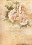 Roses vintage shabby chic background. Vintage roses shabby chic background on old  scrapbook paper,  watercolor style Royalty Free Stock Images