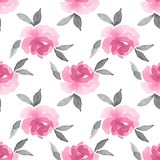 Roses. Watercolor background. Seamless pattern 15. Hand drawn floral seamless pattern Stock Photo