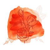 Roses watercolor background Stock Photography