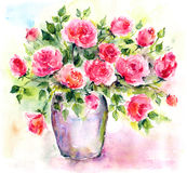 Roses. Watercolor floral bouquet. Birthday card. Royalty Free Stock Photos