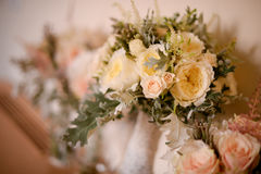Roses wedding bouquet. In a vase, selective focus Stock Photo