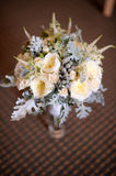 Roses wedding bouquet. White roses wedding bouquet in a vase Stock Images